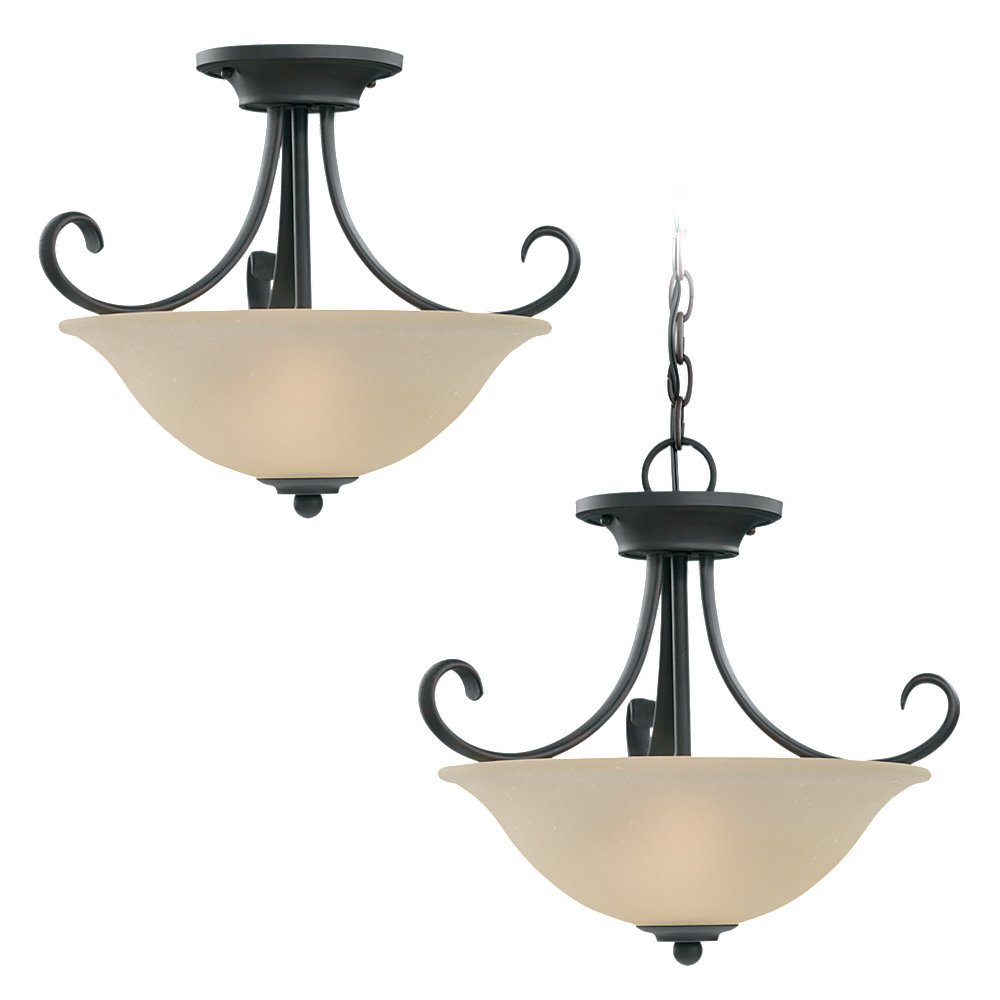 Two Light Semi Flush Convertible Pendant Ttr9 Interstate Lighting And Electric